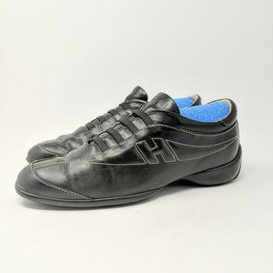 Auth Hogan Black Leather Sneakers